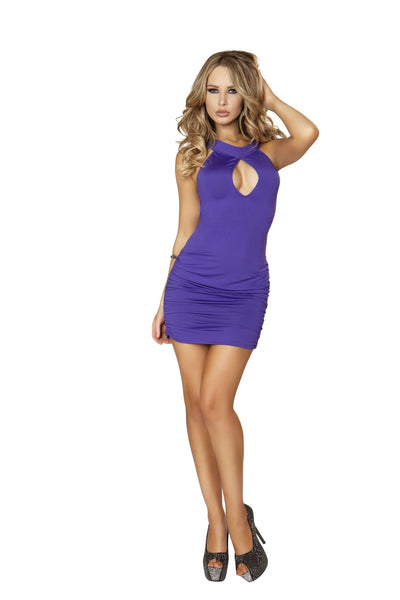 1pc Cut out Mini Dress w/ Scrunched Skirt & O-Ring Back Detail - Purple