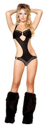 1pc Cut-out Monokini w/ Rhinestone Details - Black