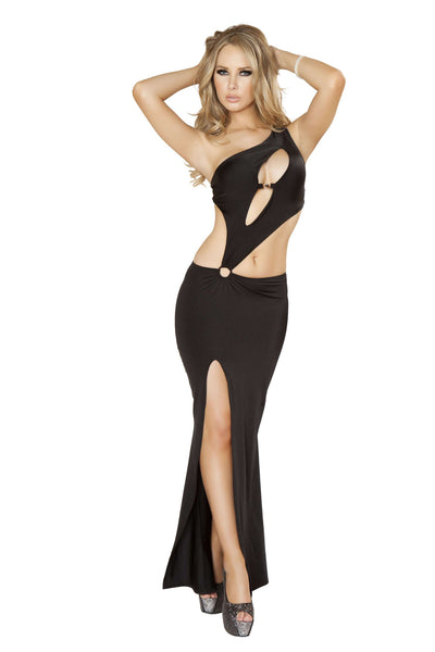1pc Cutout Front Gown w/ Heart Clasp, Front Slit & O-Ring Detail - Black