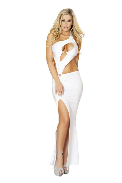1pc Cutout Front Gown w/ Heart Clasp, Front Slit & O-Ring Detail - White