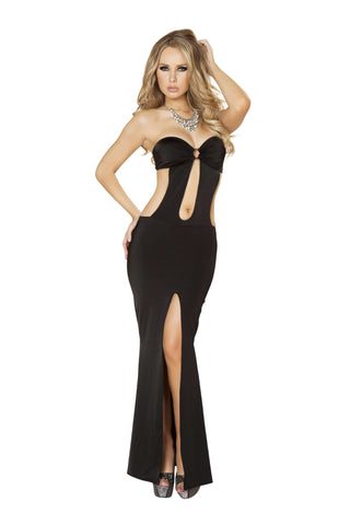 1pc Cutout Front Gown w/ Slit & Open Back - Black