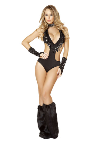 1pc Cutout Side Romper with Rhinestone Fringe Detail - Black