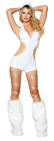 1pc Detachable Hooded Romper w/ Rhinestone Detail - White