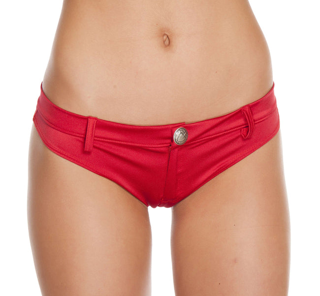 1pc Extreme Booty Shorts w/ Button Front Detail - Red