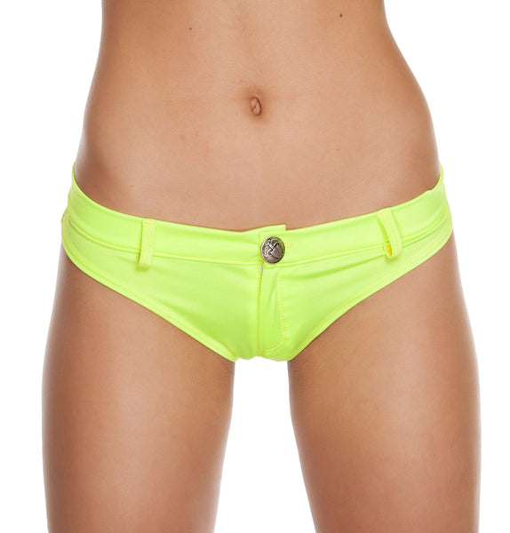 1pc Extreme Booty Shorts w/ Button Front Detail - Yellow