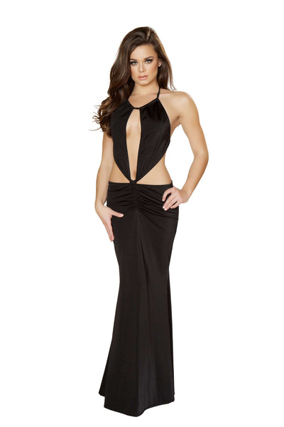 1pc Gown w/ Cropped Top & Scrunched Skirt Detail - Black