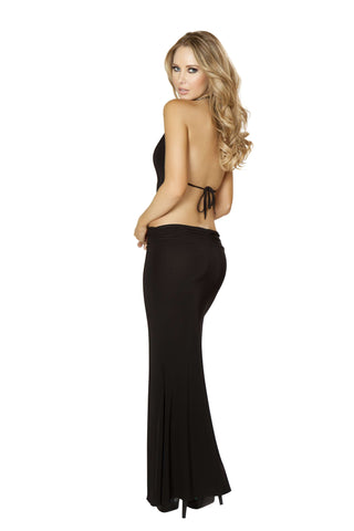 1pc Gown w/ Scrunched Waist, Cropped Top w/ Open Back - Black