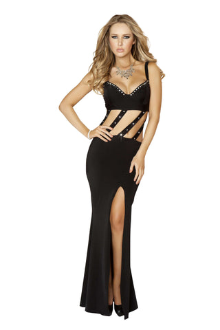 1pc Gown w/ Slit Front & Diagonal Straps & Rhinestone Detail - Black