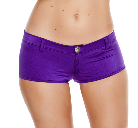 1pc Low Rise Shorts w/ Button Front & Pocket Details - Purple