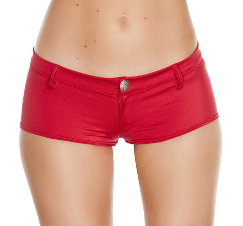 1pc Low Rise Shorts w/ Button Front & Pocket Details - Red