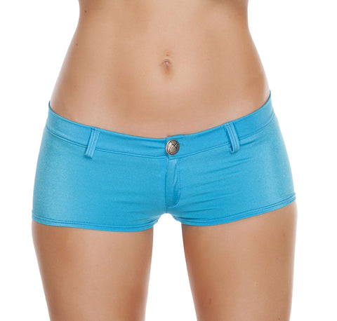 1pc Low Rise Shorts w/ Button Front & Pocket Details - Turquoise