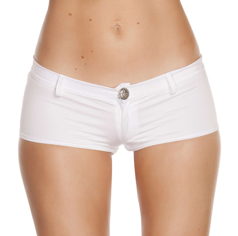 1pc Low Rise Shorts w/ Button Front & Pocket Details - White