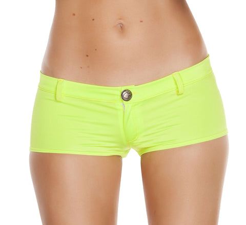 1pc Low Rise Shorts w/ Button Front & Pocket Details - Yellow