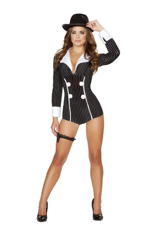 1pc Mischievous Mobster Babe - Black/White