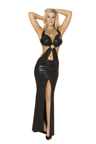 1pc Open Back Gown w/ Front Slit & Diamond Ring Detail - Black