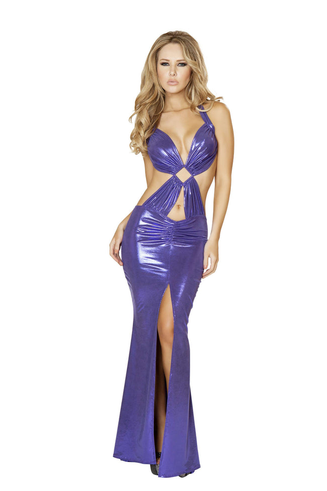 1pc Open Back Gown w/ Front Slit & Diamond Ring Detail - Purple
