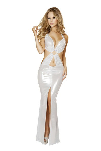 1pc Open Back Gown w/ Front Slit & Diamond Ring Detail - White