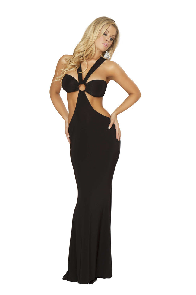 1pc Open Front & Back Gown w/ O-Ring Detail - Black