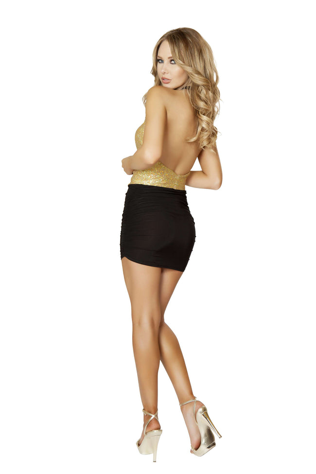 1pc Open Front Mini Dress w/ Scrunched Skirt Detail - Gold/Black