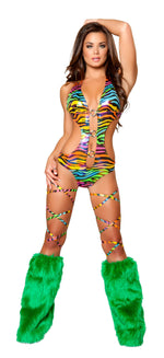 1pc Open Side Scrunch Back Romper w/ Triple O-Ring Detail - Rainbow Zebra