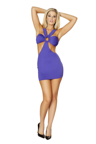 1pc Open Strapped Tubed Mini Dress w/ O-Ring Details - Purple