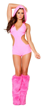 1pc Romper w/ Detachable Hood - Hot Pink