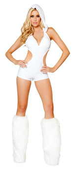 1pc Romper w/ Detachable Hood - White