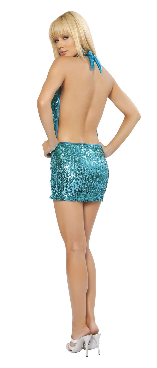 1pc Sequin Cowl Neck Mini Dress - Turquoise