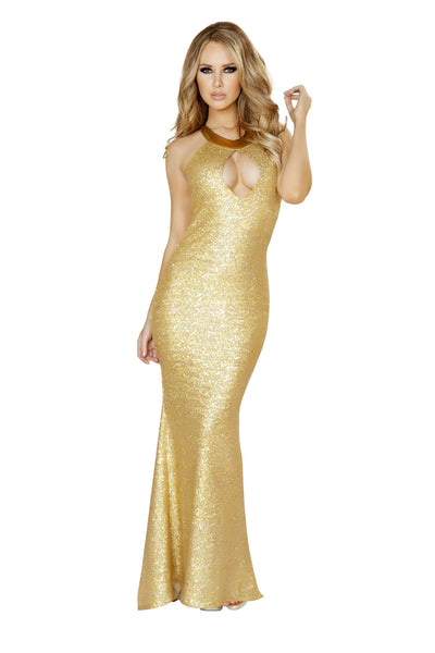 1pc Sequin Gown w/ Cutout Front and Open Back w/ O-Ring Detail - Gold