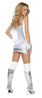 1pc Sequin Mini Dress w/ Cut out Sleeves - White
