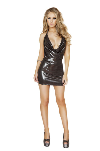 1pc Shimmered Cowl Neck Mini Dress - Gunmetal