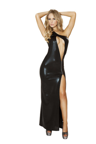 1pc Single Shoulder Cutout Gown w/ Zipper Detail - Black