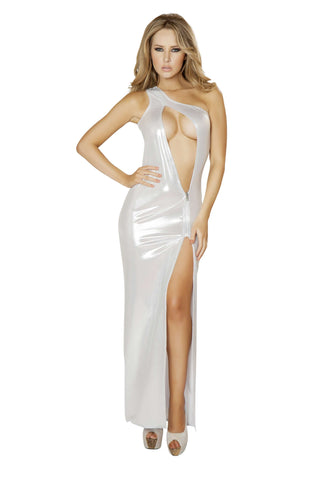 1pc Single Shoulder Cutout Gown w/ Zipper Detail - White