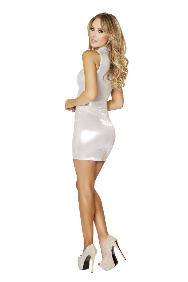 1pc Zip up Front Mini Dress w/ Cut out Detail - White