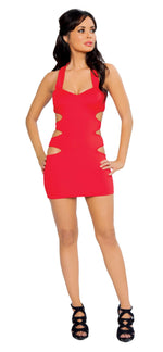 1pc Zip up back Mini Dress w/ Multi Cut out Side Details - Red