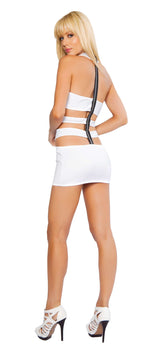 1pc Zip up back Mini Dress w/ Multi Cut out Side Details - White