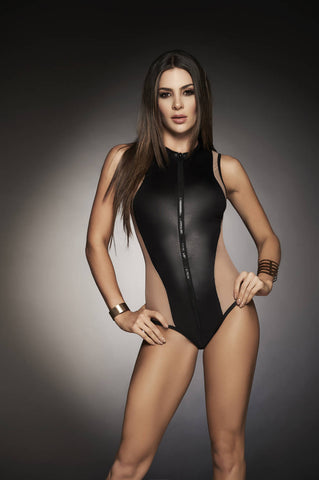 Wet Look Bodysuit With Sheer Mesh Panel - Fashion