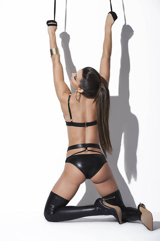 Wet Look Two Piece Set With Garters - Fashion