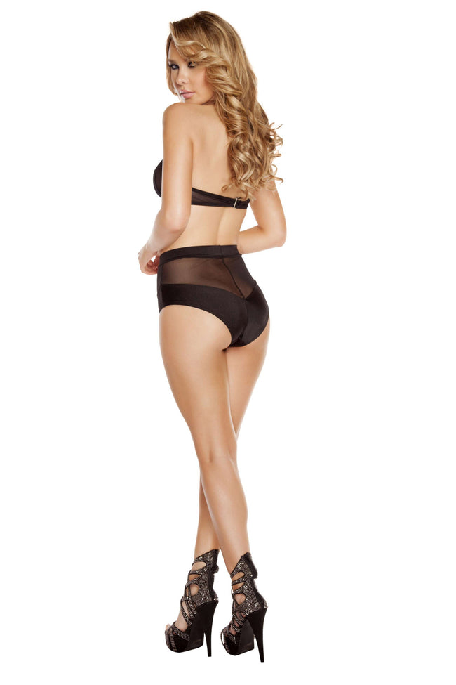 2pc Banded High-Waisted Sheer Shorts & Halter Top