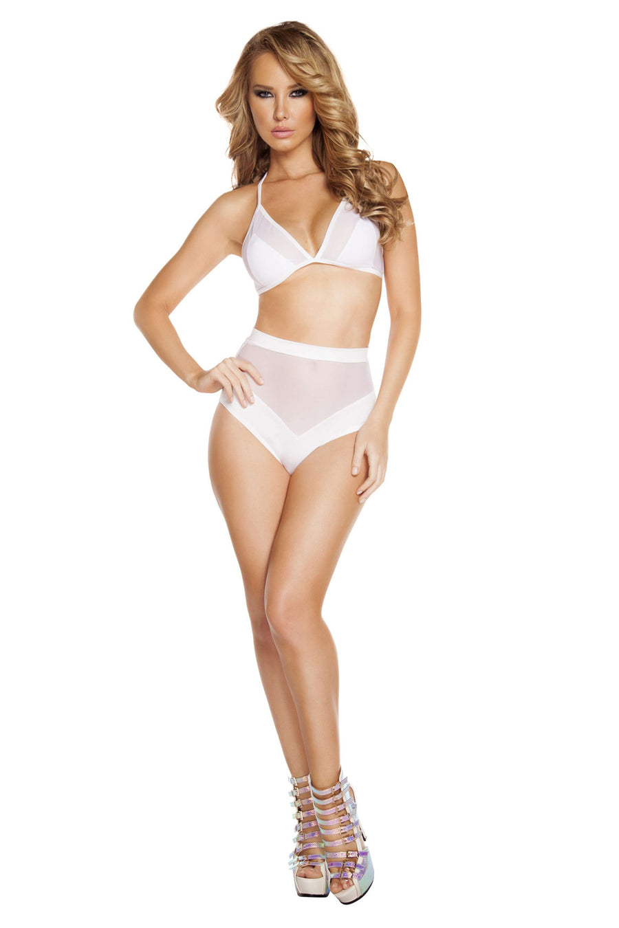 2pc Banded High-Waisted Sheer Shorts & Halter Top - White