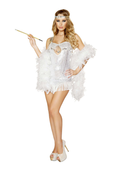 2pc Femme Fatale Flapper - White/Silver