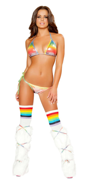 2pc Full Back Pucker Tie Side Bikini Set - Rainbow