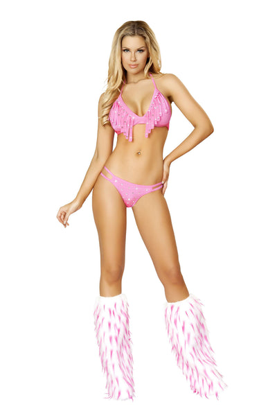 2pc Rhinestone Studded Double Strapped Bottom w/ Fringe Halter Top - Hot Pink
