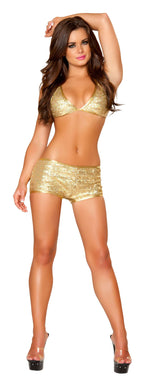 2pc Short Set w/ Triangle Top - Gold