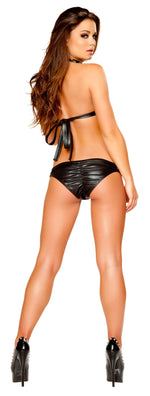 2pc Studded Leatherette Bikini Set