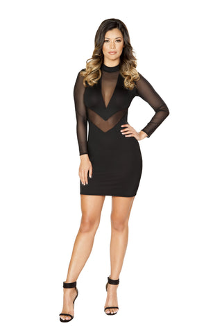 Roma Clubwear Long Sleeve Dress with Sheer Mesh Detail