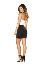 Roma Clubwear Black and White Two-Tone Open Front Dress with Criss-Cross Detail Back