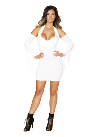 Roma Clubwear Long Flared Sleeve Dress with Cutout Shoulders