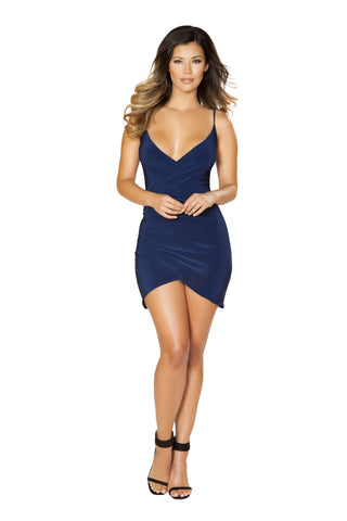 Roma Clubwear Navy Blue Spaghetti Strap Dress with Overlapping Scrunch Detail