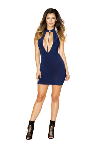 Roma Clubwear Cutout Dress with Ring Detail and Attached Strap